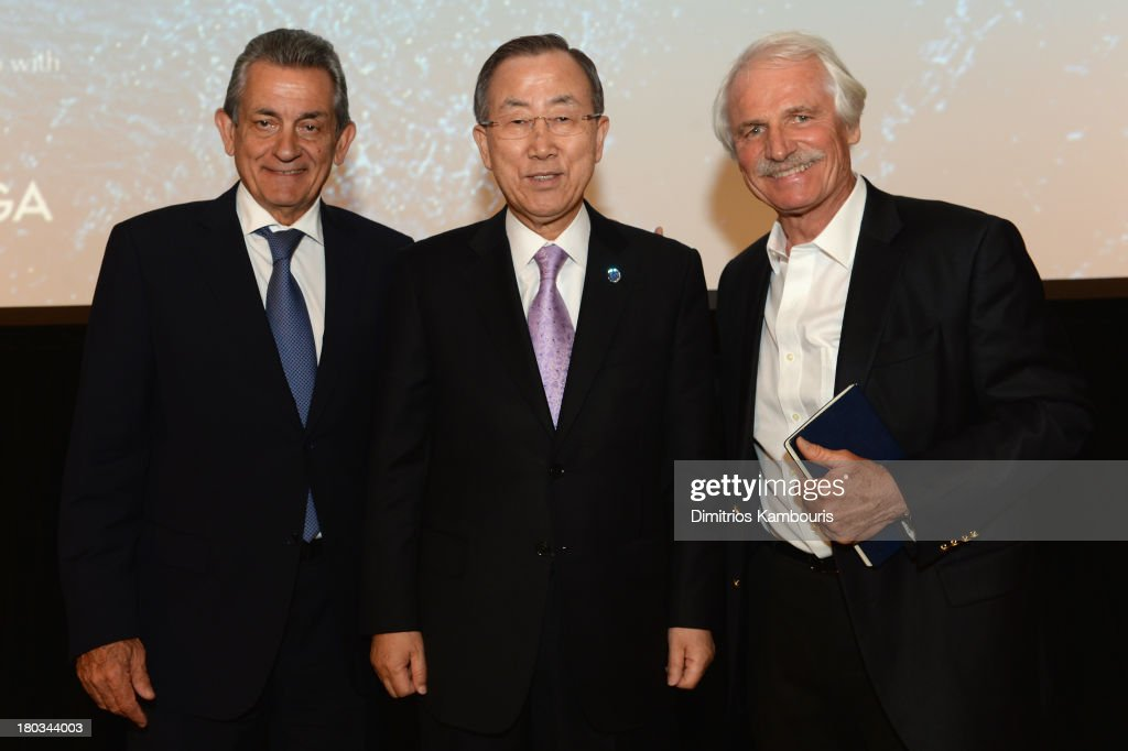 Stephen Urquhart President of Omega SA UN SecretaryGeneral Ban KiMoon and director/ environmentalist Yann ArthusBertrand attend the United Nations...