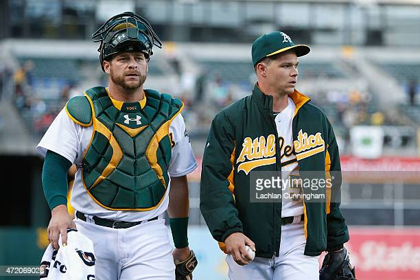 Stephen Vogt and Sonny Gray of the Oakland Athletics look on before the game against the Los Angeles Angels of Anaheim at Oco Coliseum on April 28...
