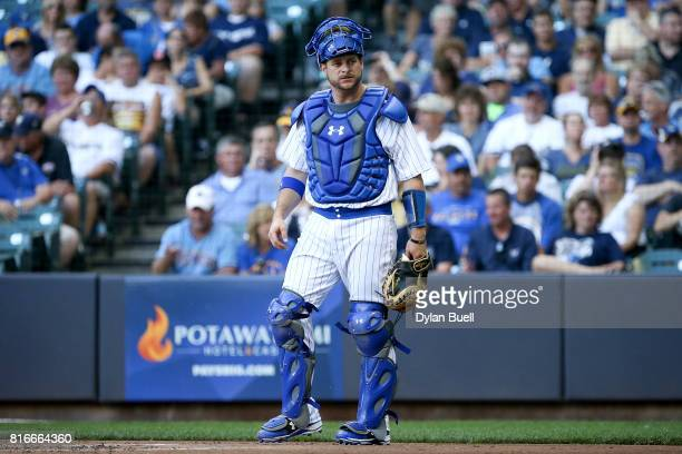 Stephen Vogt of the Milwaukee Brewers looks to the dugout in the second inning against the Philadelphia Phillies at Miller Park on July 15 2017 in...