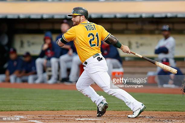 Stephen Vogt of the Oakland Athletics at bat in the first inning against the Minnesota Twins at Oco Coliseum on July 17 2015 in Oakland California