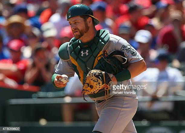 Stephen Vogt of the Oakland Athletics at Globe Life Park in Arlington on May 3 2015 in Arlington Texas