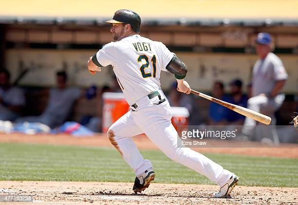 Stephen Vogt of the Oakland Athletics bats against the Texas Rangers at Oco Coliseum on June 11 2015 in Oakland California