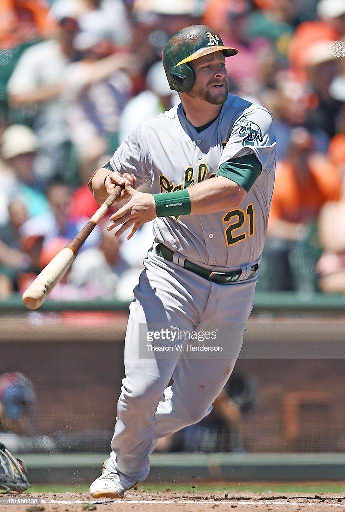 <a gi-track='captionPersonalityLinkClicked' href=/galleries/search?phrase=Stephen+Vogt&family=editorial&specificpeople=7511888 ng-click='$event.stopPropagation()'>Stephen Vogt</a> #21 of the Oakland Athletics hits an RBI single scoring John Jaso #5 in the top of the fifth inning against the San Francisco Giants at AT&T Park on July 10, 2014 in San Francisco, California.