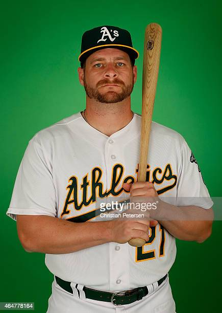 Stephen Vogt of the Oakland Athletics poses for a portrait during the spring training photo day at HoHoKam Stadium on February 28 2015 in Mesa Arizona