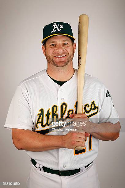 Stephen Vogt of the Oakland Athletics poses for a portrait during the spring training photo day at HoHoKam Stadium on February 29 2016 in Mesa Arizona