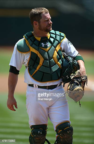 Stephen Vogt of the Oakland Athletics works behind the plate against the Colorado Rockies during the game at Oco Coliseum on Wednesday July 1 2015 in...