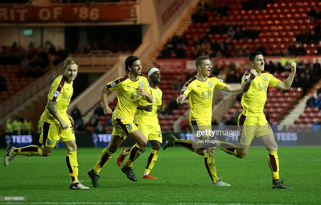Stephen Ward of Burnley (R) celebrates his goal during the Emirates FA Cup third round match between Middlesbrough and Burnley at Riverside Stadium on January 9, 2016 in Middlesbrough, England.