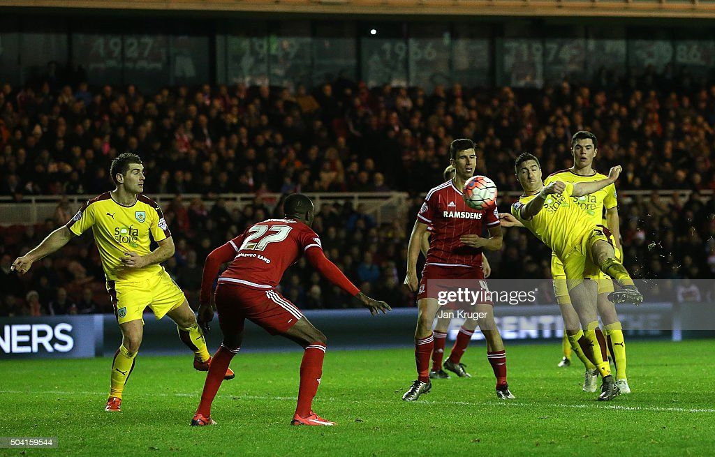 Stephen Ward of Burnley scores his sides second goal during the Emirates FA Cup third round match between Middlesbrough and Burnley at Riverside Stadium on January 9, 2016 in Middlesbrough, England.