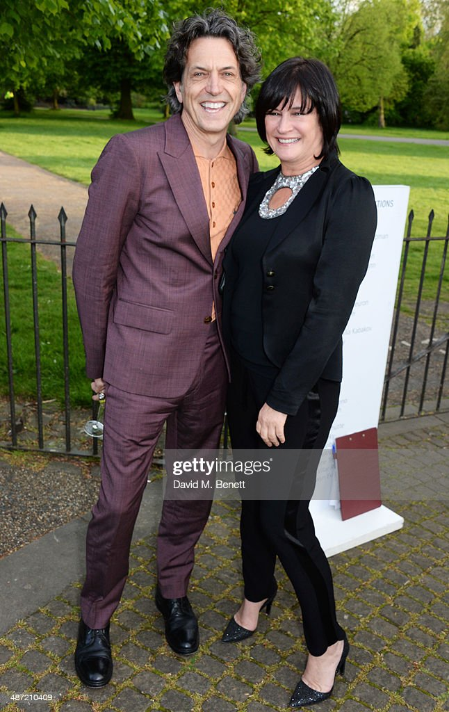 Stephen Webster (L) and Miranda Davis attend the launch of 'Serpentine', a new fragrance by The Serpentine Gallery and fashion house Commes des Garcons featuring bottle artwork by Trace Emin, on April 28, 2014 in London, England.