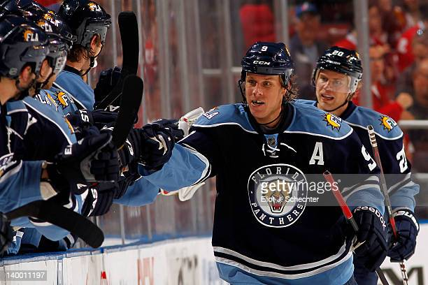 Stephen Weiss celebrates his goal with teammates against the Montreal Canadiens at the BankAtlantic Center on February 26 2012 in Sunrise Florida