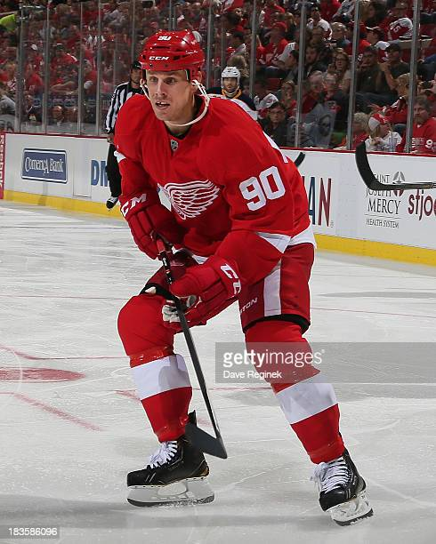 Stephen Weiss of the Detroit Red Wings follows the play against the Buffalo Sabres during a NHL game at Joe Louis Arena on October 2 2013 in Detroit...