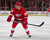 Stephen Weiss of the Detroit Red Wings follows the play during a NHL game against the Buffalo Sabres on December 23 2014 at Joe Louis Arena in...