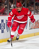 Stephen Weiss of the Detroit Red Wings follows the play during a NHL game against the Buffalo Sabres on January 18 2015 at Joe Louis Arena in Detroit...