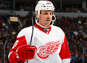 Stephen Weiss of the Detroit Red Wings looks on from the bench during their NHL game against the Vancouver Canucks at Rogers Arena January 3 2015 in...