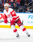 Stephen Weiss of the Detroit Red Wings skates against the Tampa Bay Lightning at the Amalie Arena on January 29 2015 in Tampa Florida