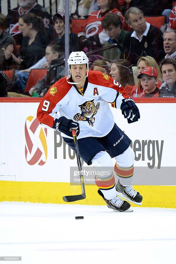 Stephen Weiss #9 of the Florida Panthers against the Carolina Hurricanes during play at PNC Arena on March 2, 2013 in Raleigh, North Carolina. The Hurricanes won 6-2.