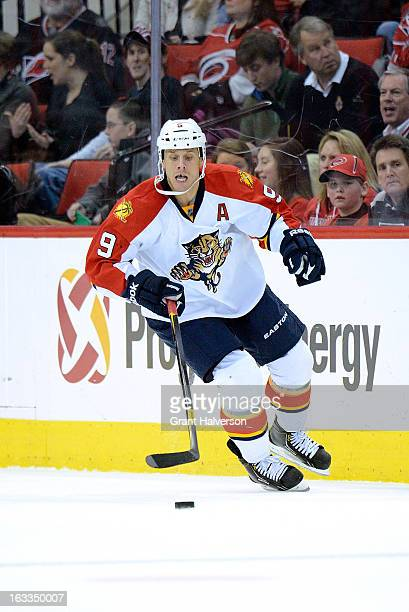 Stephen Weiss of the Florida Panthers against the Carolina Hurricanes during play at PNC Arena on March 2 2013 in Raleigh North Carolina The...