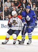 Stephen Weiss of the Florida Panthers battles with Viktor Stalberg of the Toronto Maple Leafs during the game on March 23 2010 at the Air Canada...
