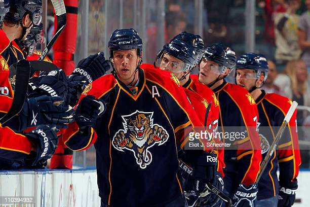 Stephen Weiss of the Florida Panthers celebrates a goal with teammates against the Toronto Maple Leafs at the BankAtlantic Center on March 17 2011 in...