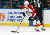 Stephen Weiss of the Florida Panthers handles the puck against the New York Islanders on January 21 2010 at Nassau Coliseum in Uniondale New York...