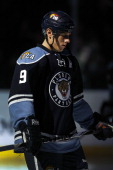 Stephen Weiss of the Florida Panthers skates on the ice prior to the start of the game against the Tampa Bay Lightning at the BankAtlantic Center on...