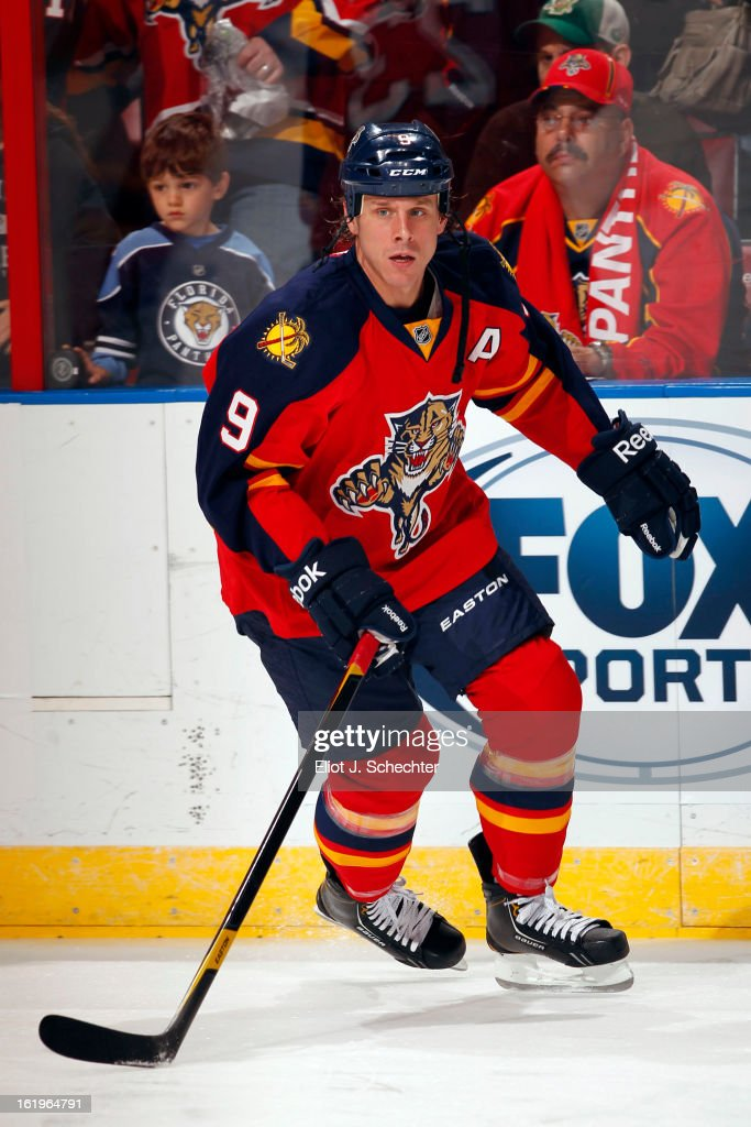 Stephen Weiss #9 of the Florida Panthers skates on the ice prior to the start of the game against the Tampa Bay Lightning at the BB&T Center on February 16, 2013 in Sunrise, Florida.