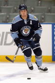 Stephen Weiss of the Florida Panthers skates on the ice prior to the start of the game against the Pittsburgh Penguins at the BankAtlantic Center on...