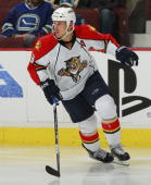 Stephen Weiss of the Florida Panthers skates up ice during their game against the Vancouver Canucks at Rogers Arena on October 11 2010 in Vancouver...