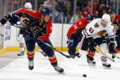 Stephen Weiss of the Florida Panthers skates with the puck against the Chicago Blackhawks at the BankAtlantic Center on March 8 2011 in Sunrise...