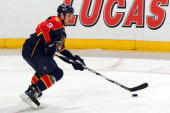 Stephen Weiss of the Florida Panthers skates with the puck against the Vancouver Canucks at the BankAtlantic Center on February 11 2010 in Sunrise...