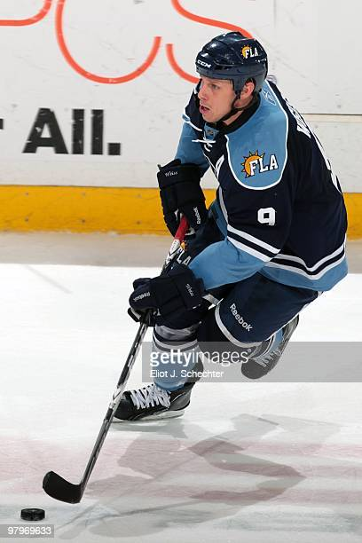 Stephen Weiss of the Florida Panthers skates with the puck against the Buffalo Sabres at the BankAtlantic Center on March 20 2010 in Sunrise Florida