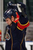 Stephen Weiss of the Florida Panthers stretches prior to the start of the game against the Anaheim Ducks at the BankAtlantic Center on February 1...