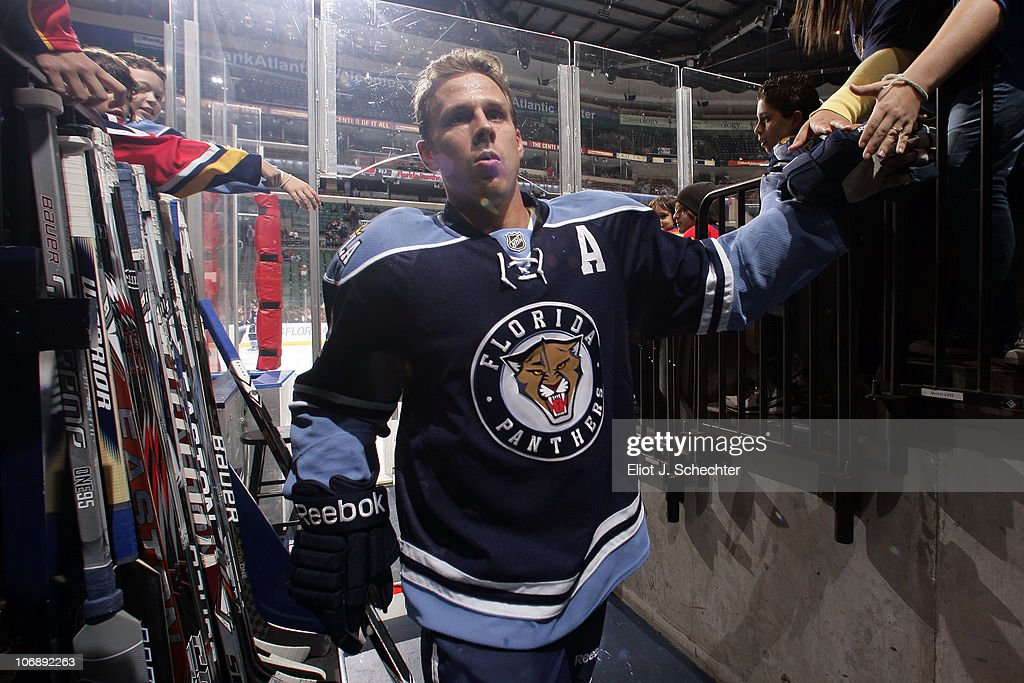 Stephen Weiss of the Florida Panthers walks back to the dressing room prior to the start of the game against the Minnesota Wild at the BankAtlantic...