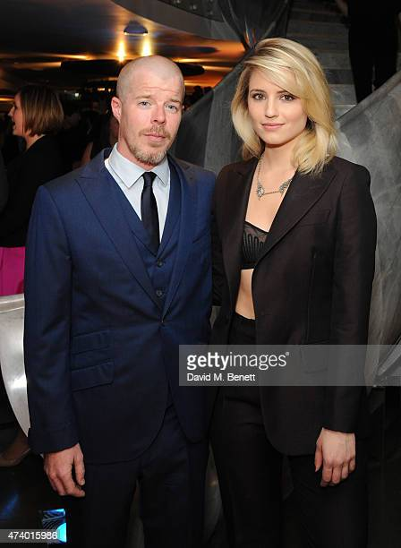 Stephen Wight and Dianna Agron attend the press night performance of 'McQueen' at the St James Theatre on May 19 2015 in London England
