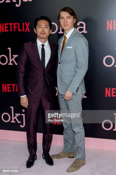 Stephen Yeun and Paul Dano attend the New York premiere of 'Okja' at AMC Lincoln Square Theater on June 8 2017 in New York City
