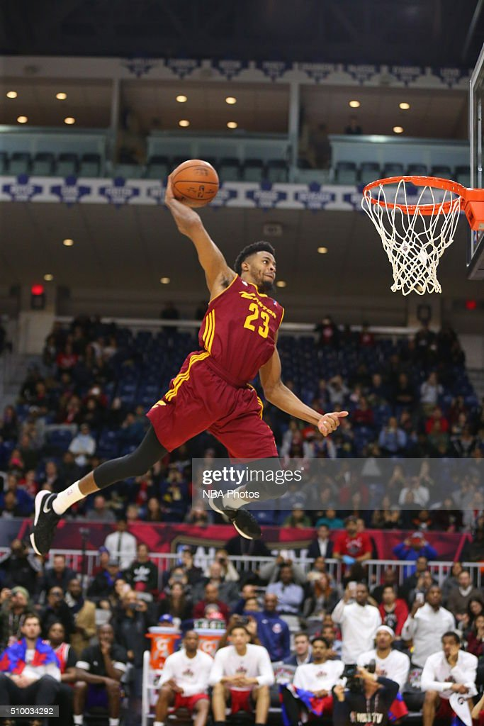 DJ Stephens #23 of the Canton Charge dunks the ball during the NBA D-League Slam Dunk Contest during the NBA D-League All Star Game 2016 presented by Kumho Tire as part of 2016 All-Star Weekend at the Ricoh Coliseum on February 13, 2016 in Toronto, Ontario, Canada.