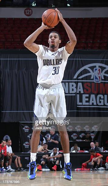 J Stephens of the Dallas Mavericks goes for a jump shot during NBA Summer League game between the Dallas Mavericks and the Los Angeles Clippers on...