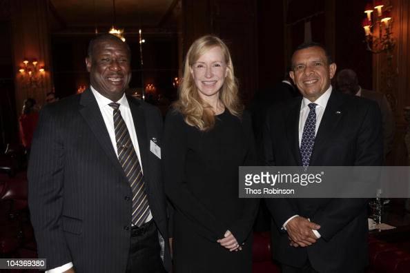 Stephenson King Prime Minister of Saint Lucia Louise Blouin Chairman Louise Blouin Foundation and Porfirio Lobo Sosa President of Honduras attend...
