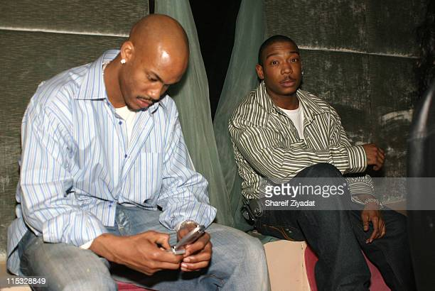 Stephon Marbury and Ja Rule during Ja Rule Stephon Marbury and Nick Cannon at Darcy New York at Club Darcy in New York City New York United States