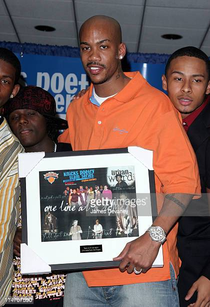 Stephon Marbury during Stephon Marbury and Ja Rule Join Together For The ''Knicks Poetry Slam Series'' at The Theater Lobby at Madison Square Garden...