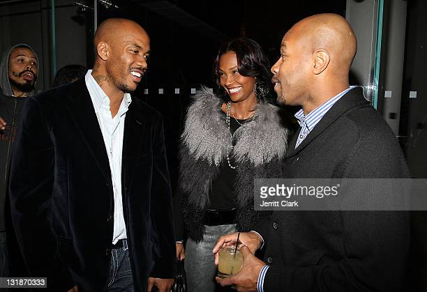 Stephon Marbury Latasha Marbury and DJ DNice attend a Hennessey Black party to celebrate DJ DNice signing to Roc Nation DJ's at The Cooper Square...