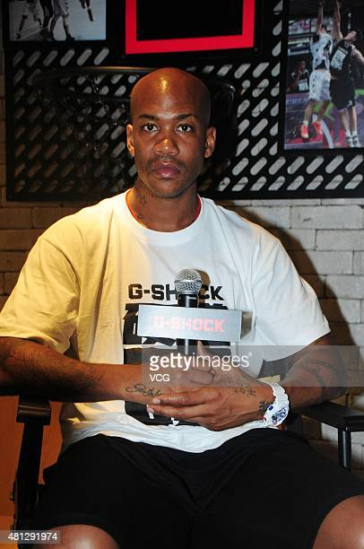 Stephon Marbury of Beijing Ducks of the Chinese Basketball Association attends GSHOCK promotional event on July 19 2015 in Shanghai China