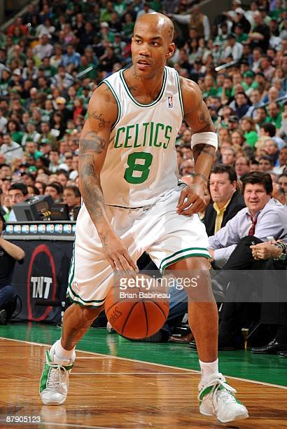 Stephon Marbury of the Boston Celtics moves the ball up court against the Orlando Magic in Game Five of the Eastern Conference Semifinals during the...