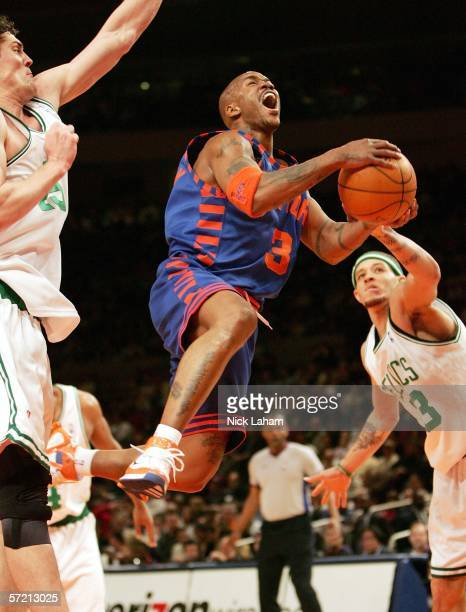 Stephon Marbury of the New York Knicks lays the ball up against the Boston Celtics on March 29 2006 at Madison Square Garden in New York City NOTE TO...