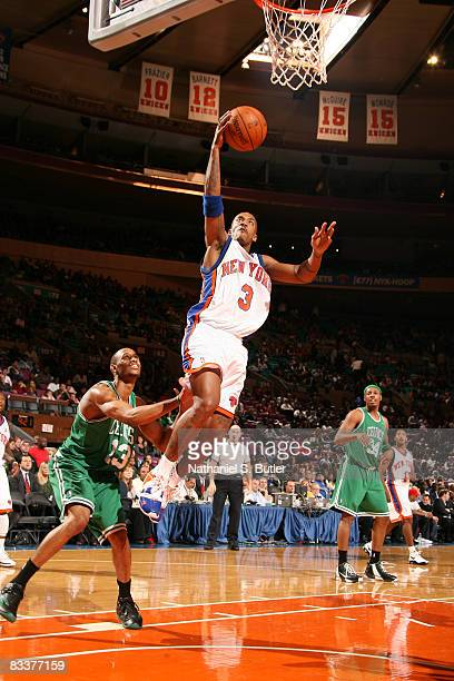 Stephon Marbury of the New York Knicks shoots against Gabe Pruitt of the Boston Celtics on October 21 2008 at Madison Square Garden in New York City...