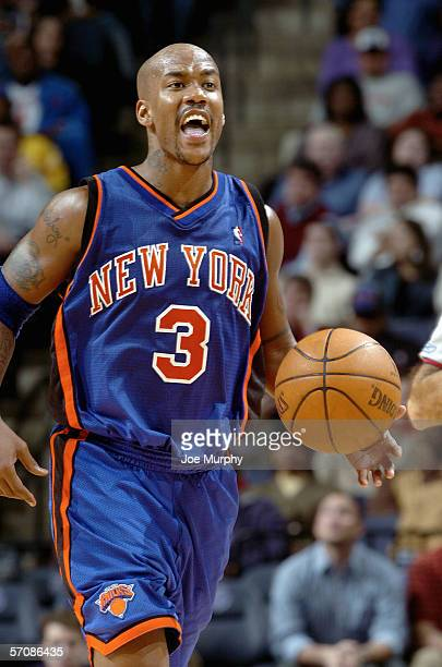 Stephon Marbury of the New York Knicks yells out a play during a game between the New York Knicks and the Memphis Grizzlies on March 1 2006 at the...