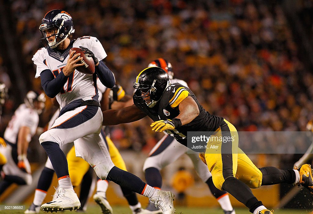 <a gi-track='captionPersonalityLinkClicked' href=/galleries/search?phrase=Stephon+Tuitt&family=editorial&specificpeople=8563449 ng-click='$event.stopPropagation()'>Stephon Tuitt</a> #91 of the Pittsburgh Steelers goes in for the sack on <a gi-track='captionPersonalityLinkClicked' href=/galleries/search?phrase=Brock+Osweiler&family=editorial&specificpeople=6501030 ng-click='$event.stopPropagation()'>Brock Osweiler</a> #17 of the Denver Broncos during the game at Heinz Field on December 20, 2015 in Pittsburgh, Pennsylvania.
