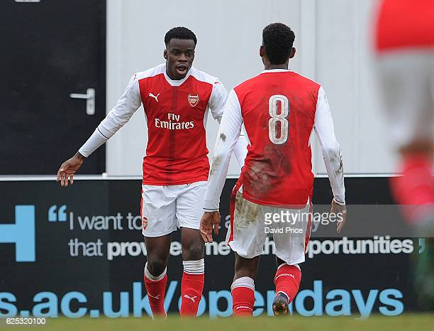 Stephy Mavididi celebrates scoring Arsenal's 2nd goal during the UEFA Youth League match between Arsenal and Paris Saint Germain at Meadow Park on...
