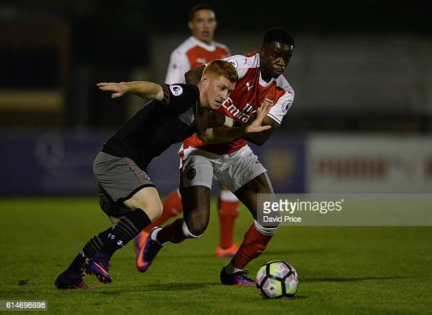 Stephy Mavididi of Arsenal challenges Harrison Reed of Southampton during the match between Arsenal U23 and Southampton U23 at Meadow Park on October...