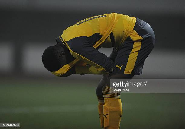 Stephy Mavididi of Arsenal dejected after the match the UEFA Champions League match between FC Basel and Arsenal at Leichtathletik Stadion on...